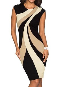 Round Neck Color Block Bodycon Dress